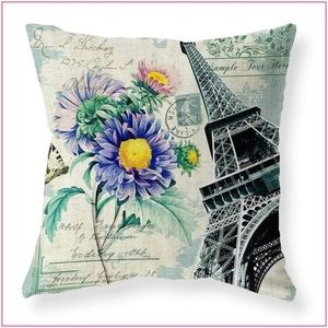 Eiffel Tower/Blue Floral Accent Pillow COVER